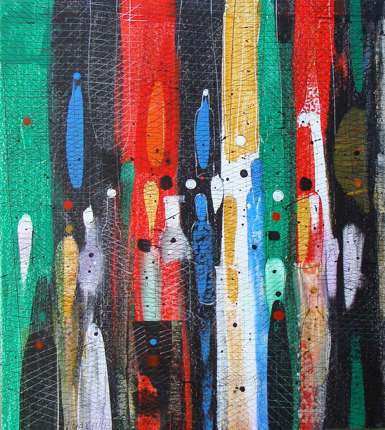 Abstract Sill Life with Bottles 1964 40x36